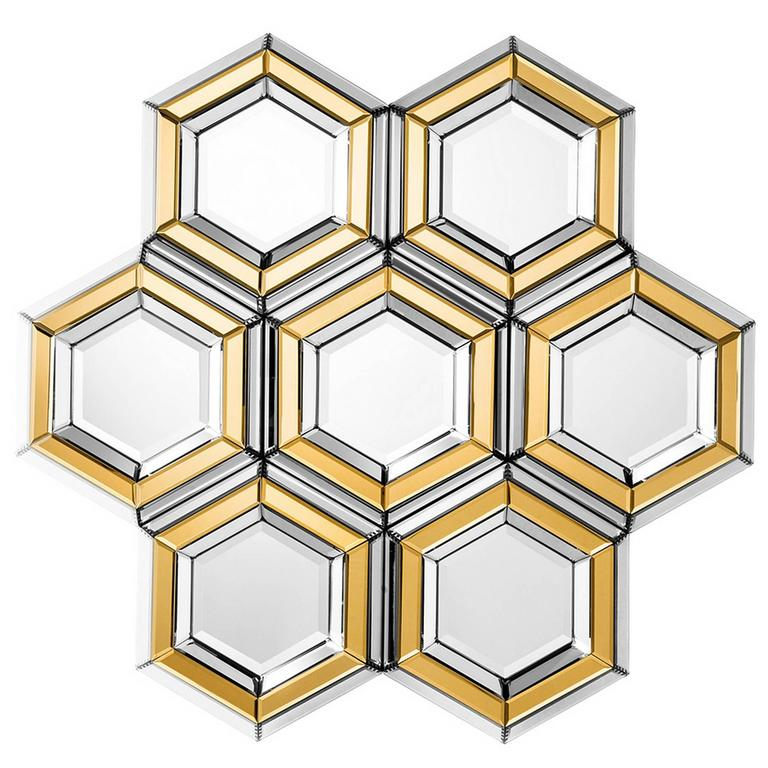 Honeycomb Mirror Made Of Beveled Multifacet And Gold Glass For