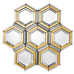 Honeycomb Mirror Made of Beveled Multifacet Mirror and Gold Mirror Glass