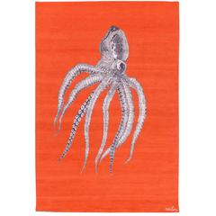 One of a kind Modern Octopus Wool Area Rug