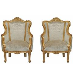 Pair of Italian 19th Century Louis XV St. Giltwood Bergères