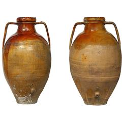 Pair of Italian 19th Century Glazed Terra Cotta Urns with Spouts