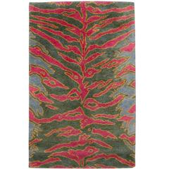 Contemporary 'Tiger' Silk Small Area Rug 3x6