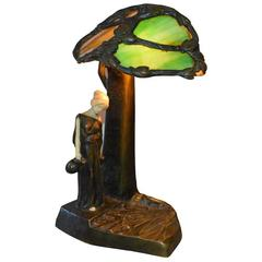 Signed PETER TERESZCUK Bronze, Ivory, Stained Glass Sculpture Lamp