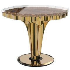 Mid-Century Modern Polished Gold, Glass and Mirror Wormley Large Side End Table