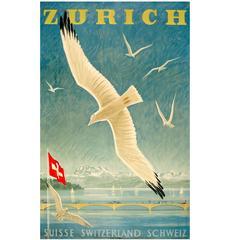 Original Vintage 1949 Travel Poster by Diggelmann Advertising Zurich Switzerland