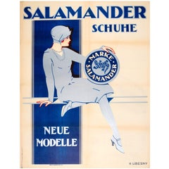 Large Original 1920s Austrian Art Deco Advertising Poster for Salamander Shoes