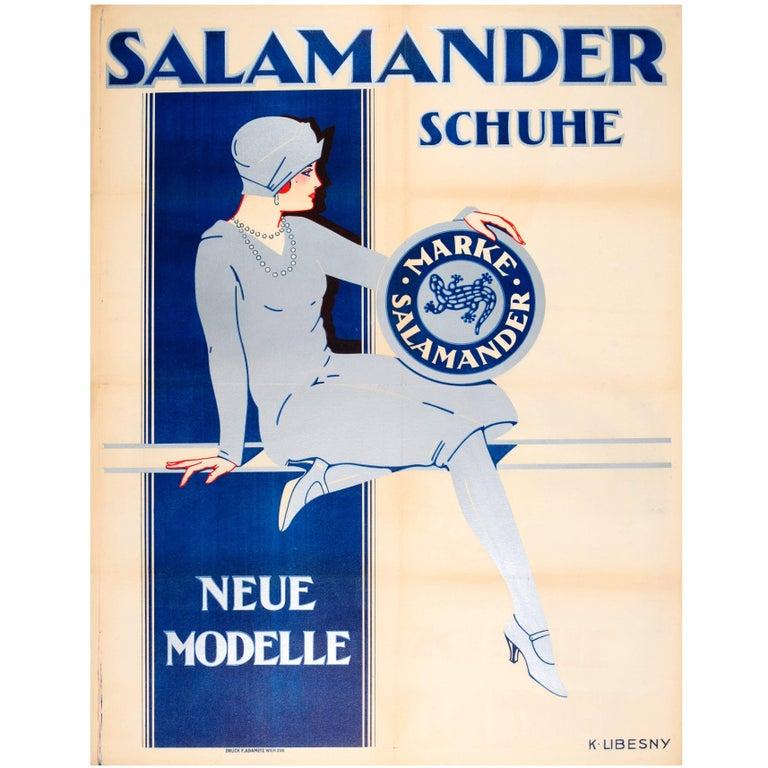 Large Original 1920s Austrian Art Deco Advertising Poster for Salamander Shoes For Sale
