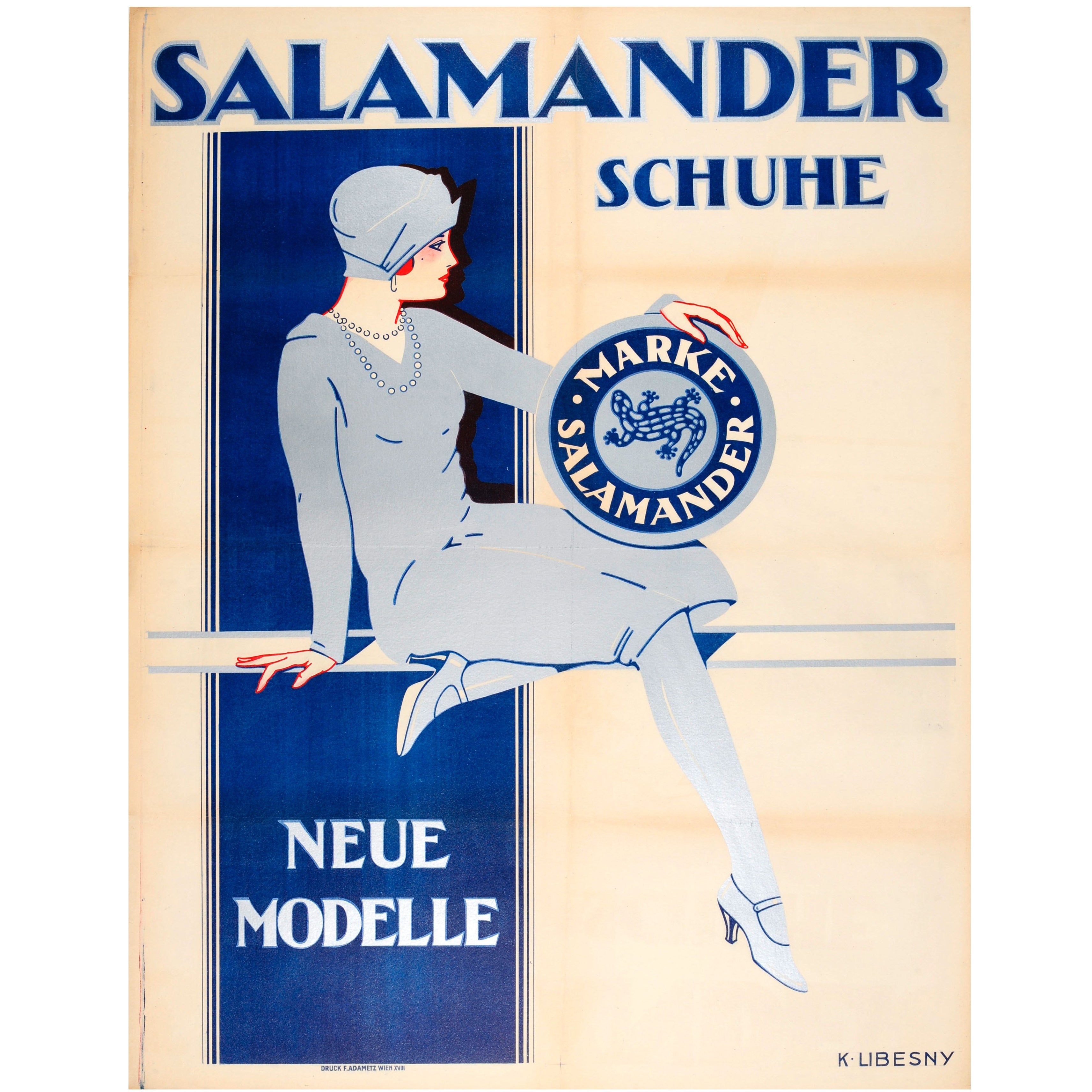 Large Original 1920s Austrian Art Deco Advertising Poster for Salamander Shoes