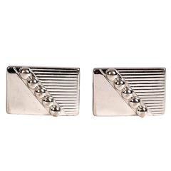 Pair of 1960s Silvertone Rectangular Cuff Links