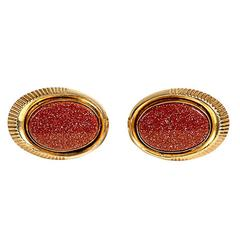 1960s Mens Gilt and Red Cuff Links, Pair