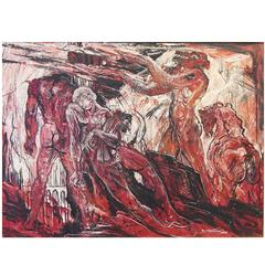 """""""Dante's Inferno,"""" Post-War Expressionist Painting in Vivid Red, Black and White"""