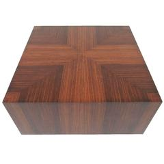 Milo Baughman Style Rosewood and Aluminum Cube Coffee Table