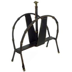 French Stitched Black Leather and Brass Detailed Magazine Rack by Jacques Adnet