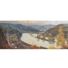 'Anseremme on the Meuse', Belgian Valley Scene by Charles Bisschops