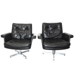 Mid Century Modern Vintage Black Leather Lounge Chairs H. W. Klein 1960s Denmark