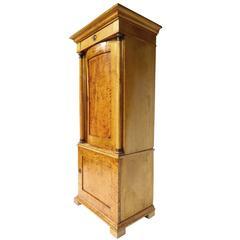 19th Century Biedermeier Sycamore Pedestal Cabinet