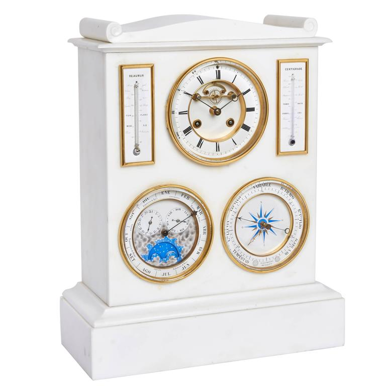 White Marble Mantel Clock, Barometer, Thermometer and Lunar Scale by Bourdon