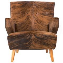 Rare Lounge Chair by Jens Risom for Knoll Reupholstered in Brindle Cowhide