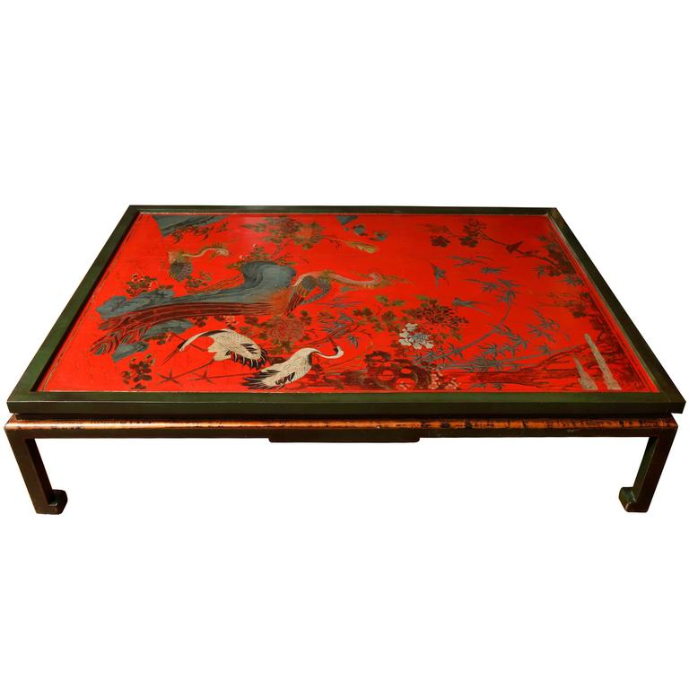 Mid 18th Century Chinese Red Lacquer Double Panel On Custom Made Base For