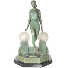 Art Deco Style Bronze Figurine Lamp After a Model by Fayral