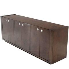 Large Dark Burl Walnut Six Door Credenza Dresser