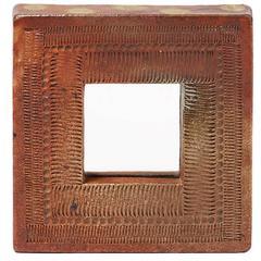 Elegant and Rare Stoneware Mirror by Barbara Delfosse, circa 1970-1975