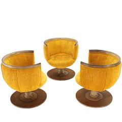 Set of Three Barrel Back Revolving Chairs