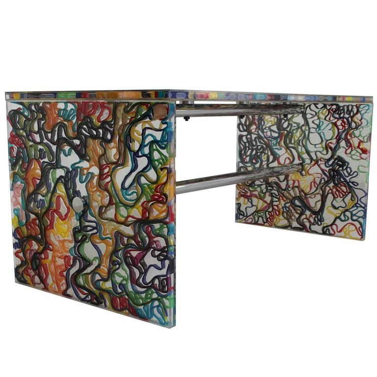 eye catching eighties plexiglass dutch design desk with stunning pop art effect at 1stdibs. Black Bedroom Furniture Sets. Home Design Ideas