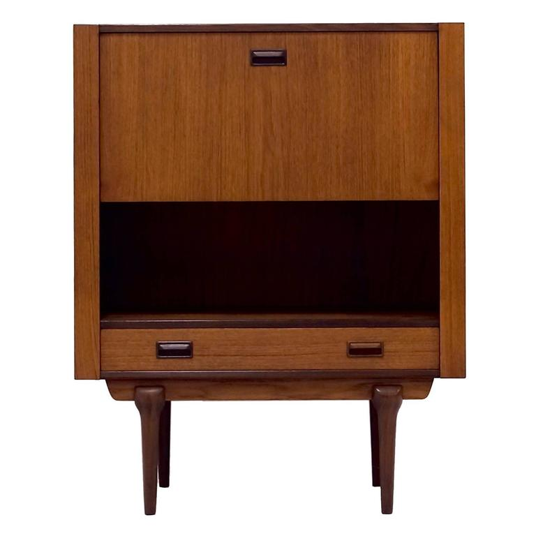 Mid Century Teak Drop Front Secretary Desk Danish Design