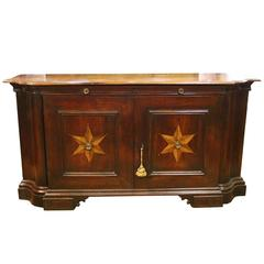 17th Century Serpentine Walnut Tuscan Credenza with Inlaid Stellate Motif