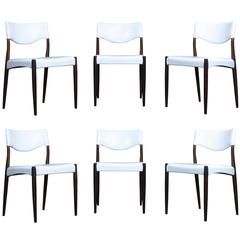 Danish Rosewood Dining Chairs in White Leather