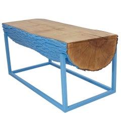 Modern Bench Beacon Blue Hurricane Sandy Reclaimed Live Edge Maple and Steel