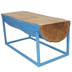 Modern Bench Beacon Blue Hurricane Sandy Reclaimed Live Edge Maple and Steel