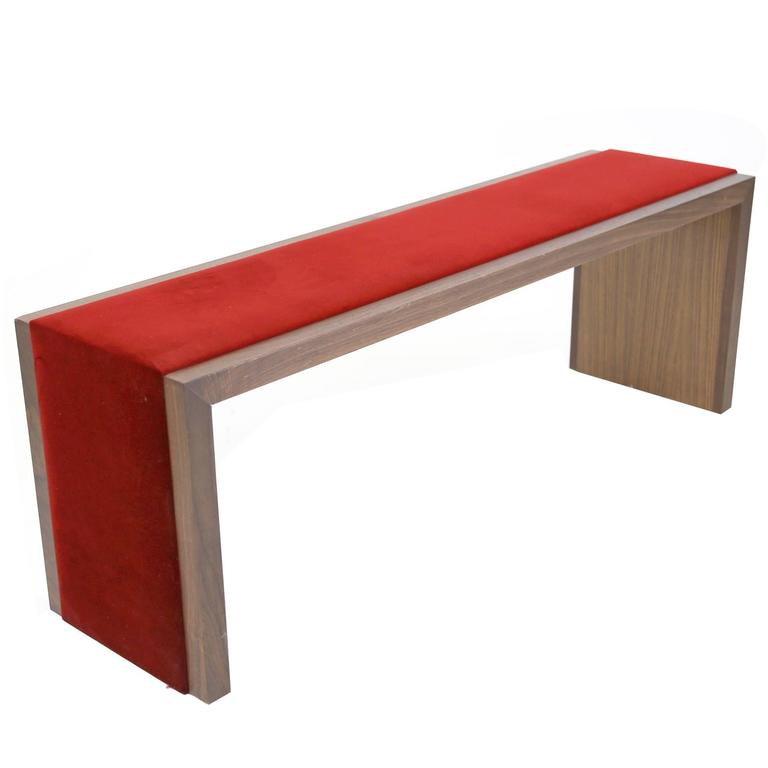 Sentient Walnut Bench with Red Velvet Upholstery For Sale