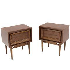 Pair of Two-Drawer Mid-Century Modern Walnut Nightstands