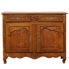 """19th Century French Provincial Fruitwood Two-Door """"Stars"""" Buffet"""