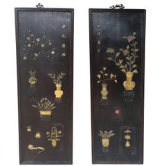 Pair of Chinese 19th Century Carved Inlaid Lacquered Wooden Panels