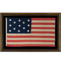 13 Canted, Hand-Sewn Stars in a 3-2-3-2-3 Pattern on an Antiques American Flag