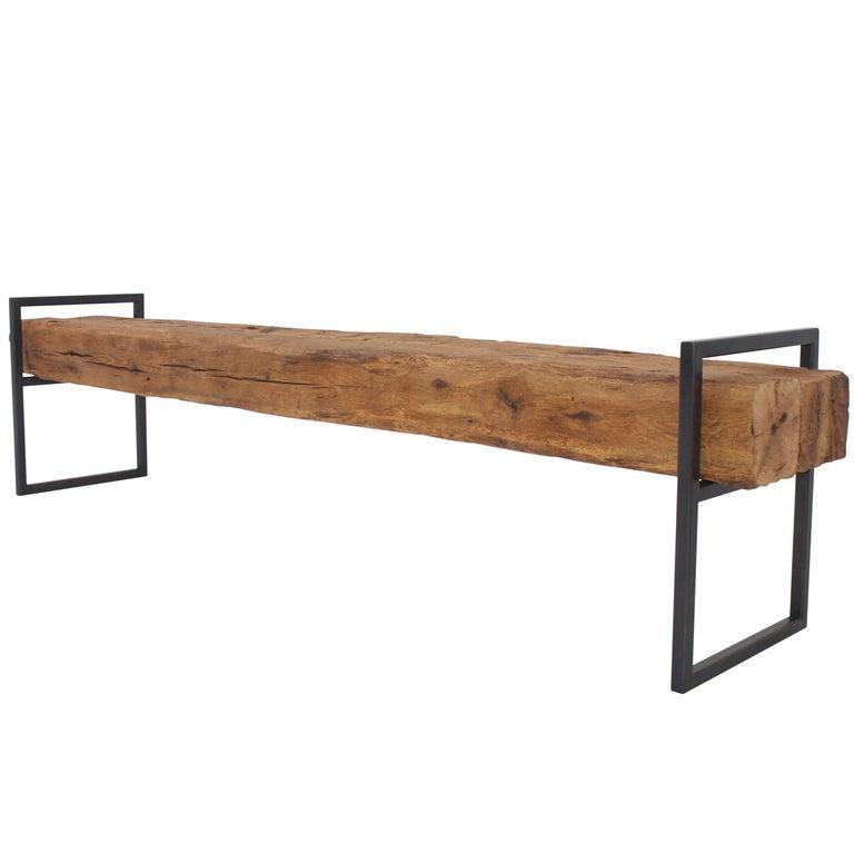 Modern Minimal Beam Bench Reclaimed Structural Oak Beams Welded Steel Frame For Sale