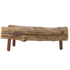 Reclaimed Salvaged Hurricane Sandy Wood Bench with Hand Turned Legs and Drawer
