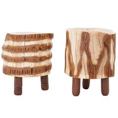 Reclaimed Salvaged Hurricane Sandy Stump Stools with Hand-Turned Legs & Drawers