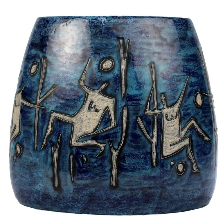 Large Lava and Blue Glaze Italian Mid-Century Modern Gambone Style Pottery Vase