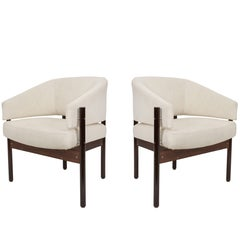 Pair of Jorge Zalszupin Linen and Jacaranda 'Senior' Armchairs for L'Atelier