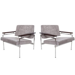 Pair of Sergio Rodrigues 'Beto' Chenille Armchairs with Jacaranda Arms