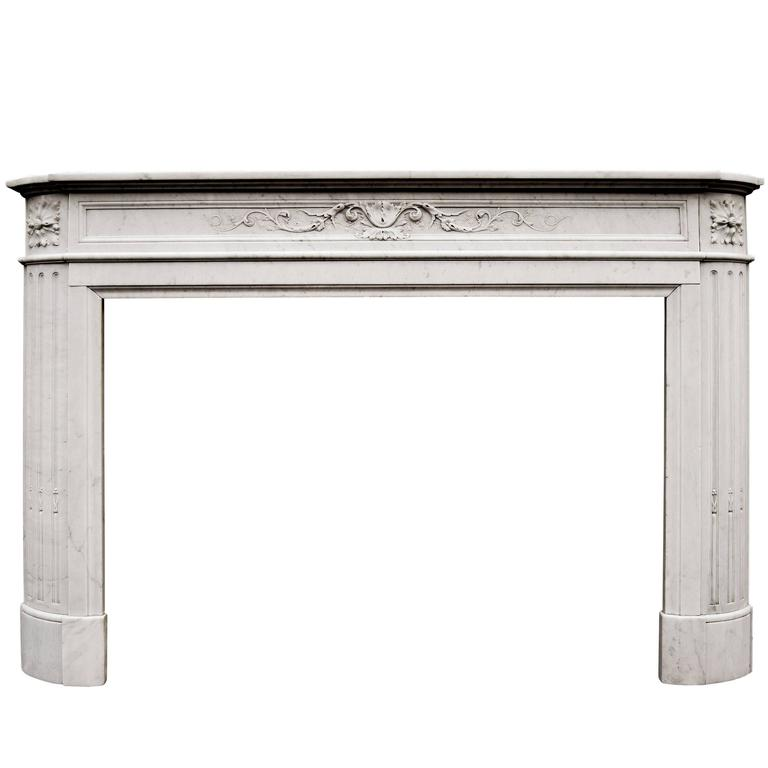 19th Century French Louis XVI Carrara Marble Fireplace