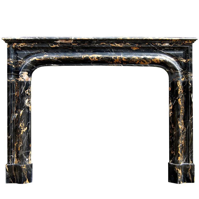 19th Century French Louis XIV Style Portoro Marble Fireplace