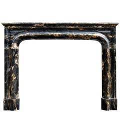 19th Century French Louis XIV Style Portoro Marble Fireplace
