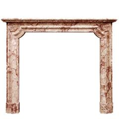 French Napoleon III Chimneypiece in Breccia Pernice Marble