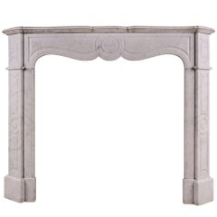 19th Century French Pompadour Fireplace in Carrara Marble