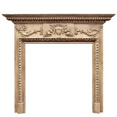 English Georgian Style Pine Fireplace with Gesso Enrichments